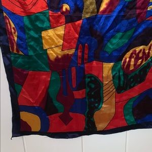 Vintage Accessories - Vtg Picasso large colorful scarf